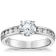 Channel-Set Diamond Engagement Ring in 14k White Gold